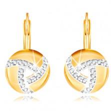 585 Gold Ohrringe – Kreis mit Linien aus Zirkonen und einem Einschnitt in der Mitte