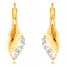 14K Gelbgold Ohrringe – glänzendes gebogenes Blatt mit einer Linie aus klaren Zirkonen