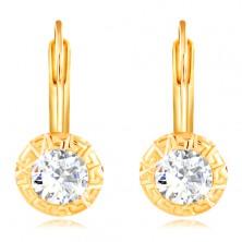 14K Gold Ohrringe – runde Fassung mit griechischem Schlüssel, geschliffener klarer Zirkon, 4,5 mm