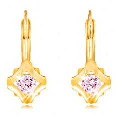14K Gelbgold Ohrringe – runder rosa Zirkon in einem Rhombus-Umriss