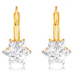 585 Gold Ohrringe – glitzernde Blume aus klaren runden Zirkonen