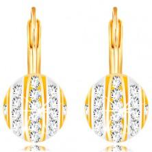 14K Gold Ohrringe – Halbkugel mit Streifen aus Weiß- und Gelbgold, klare Zirkone