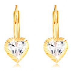 14K Gelbgold Ohrringe – Herz mit Einschnitten und Zirkon in der Mitte
