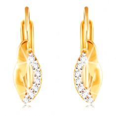 14K Gelbgold Ohrringe – gewellte Blattkontur mit einer Linie aus klaren Zirkonen