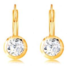 585 Gold Ohrringe – geschliffener klarer Zirkon in einer glänzenden Fassung, 5 mm