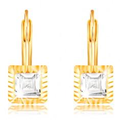 14K Gelbgold Ohrringe – viereckige Fassung mit Einschnitten, geschliffener klarer Zirkon, 5 mm