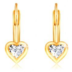 14K Gelbgold Ohrringe – klares Zirkon-Herz mit glänzendem Rand