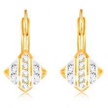 14K Gold Ohrringe – Rhombus mit Streifen aus Weiß- und Gelbgold, klare Zirkone