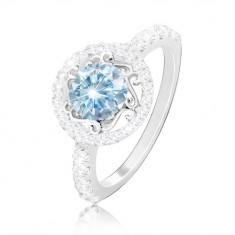 925 Silberring – hellblauer Zirkon, Ornamente, Kreis und Ringschiene mit Zirkonen
