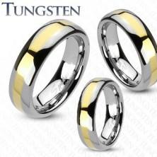 Ehering aus Tungsten mit goldener Linie, 6 mm