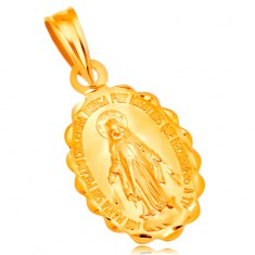 Anhänger aus 18K Gelbgold - ovales Medaillon, Jungfrau Maria, beiderseitig
