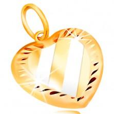 14K Gold Anhänger – Herz mit schrägen Streifen aus Weißgold, Einschnitte um den Umfang