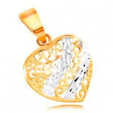 585 Gold Anhänger – abgerundetes Herz geschmückt mit filigranen Verzierungen und Weißgold Wellen