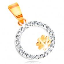 Anhänger aus kombiniertem 14K Gold – vierblättriges Kleeblatt in einem Kreis aus klaren Zirkonen