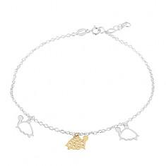 925 Silber Fußkettchen, drei Schildkröten in goldener und silberner Farbe