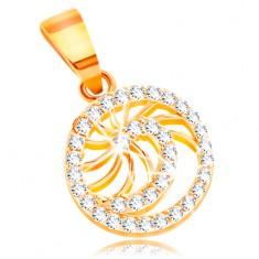 585 Gold Anhänger – glänzende klare Zirkon-Spirale, dünne glänzende Strahlen