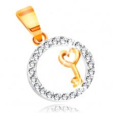 585 Gold Anhänger – Schlüssel mit einem Herzen in einem klaren Zirkon-Kreis
