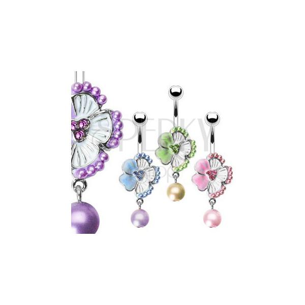 Nabelpiercing - Blume mit Zirkonia und Perle