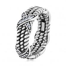 Patinerter Ring aus 925 Silber, gedrehtes Seilmuster, Kreuze mit Zirkonen