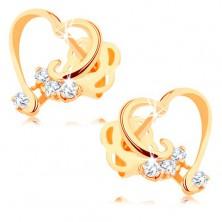 Brillant Ohrringe aus 14K Gold – glänzender Herzumriss, klare Diamanten