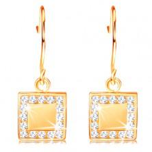 585 Gold Diamant Ohrringe – flaches Viereck mit klaren Brillanten um den Umfang