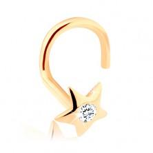 585 Gold Diamant Nasenpiercing – glitzernder Stern mit einem Brillanten