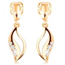 14K Gelbgold Brillant Ohrringe – gebogenes Korn mit Einschnitt und Diamanten