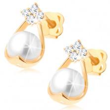 Brillant Ohrringe aus 585 Gold – vier Diamanten, Tropfenumriss mit einer weißen Perle