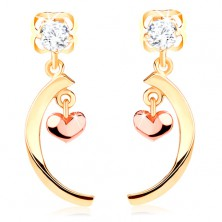 14K Gelbgold Diamant Ohrringe – klarer Brillant, glänzender Bogen, kleines abgerundetes Herz