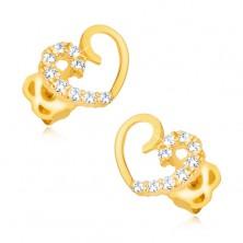 14K Gelbgold Ohrringe – symmetrischer Herzumriss, eine Hälfte mit Brillanten