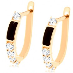 Brillant Ohrringe aus 585 Gold – schwarzes Rechteck, klare runde Diamanten