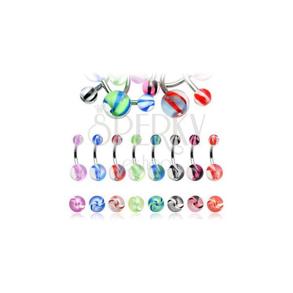Bauchnabelpiercing aus Chirurgenstahl – Akryl Kugeln mit farbigen Streifen