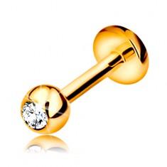 Lippen oder Kinn Brillant Piercing, 14K Gold – Kugel mit Diamanten, 6 mm