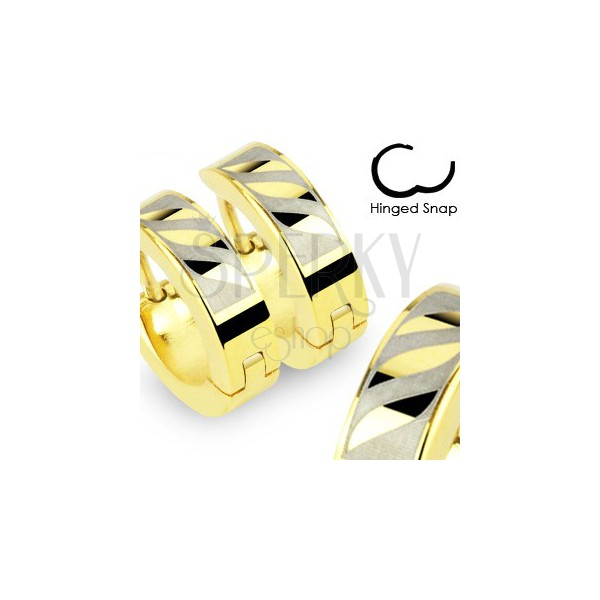 Creolen aus 316L Stahl in goldener Farbe - drei schräge Wellen im Rechteck