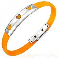 Flaches Silikonarmband in Orange mit drei Herzen