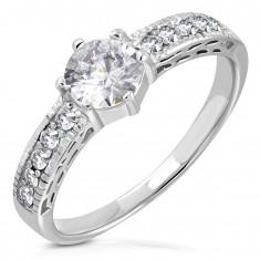 Edelstahl Ring, Zirkon Ringschiene, großer klarer Zirkon in der Mitte