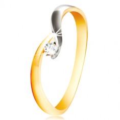 585 Gold Ring - gebogene zweifarbige Ringschiene, glitzernder klarer Zirkon