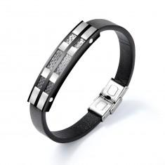 Schwarzes Lederarmband, glänzende Platte aus schwarzem und silbernem Stahl