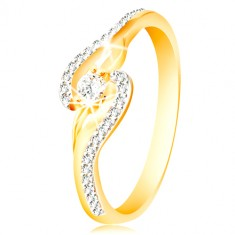 Ring aus 14K Gold - gebogene Ringschienen-Enden, dünne Zirkon Linien und größerer Zirkon