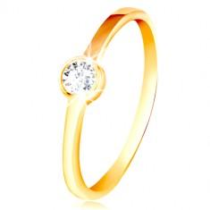 Ring aus 585 Gelbgold - runder klarer Zirkon in einer glänzenden Fassung