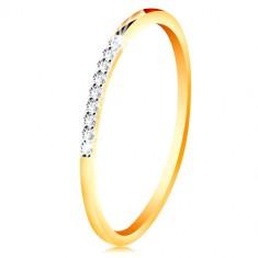 14K Gold Ring - dünne glänzende Ringschiene, glitzernde klare Zirkon Linie