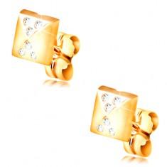Ohrringe aus 14K Gelbgold, glänzende kleine Pyramide, kleine klare Zirkone