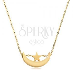 Halskette in goldenem Farbton, Edelstahl, glänzende Mondsichel und Stern