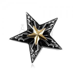 Stahl Anhänger, großer schwarzer Stern mit einem kleinen goldenen Stern in der Mitte