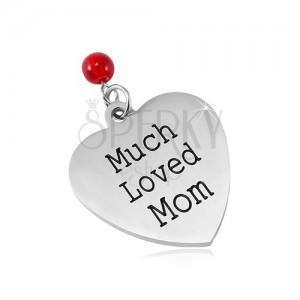 Edelstahl Anhänger, mattes Herz mit einer Aufschrift und einer roten Kugel