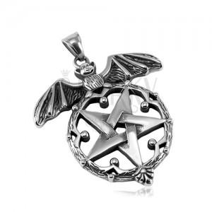 Patinierter Anhänger, 316L Stahl, Fledermaus und Pentagramm in einem dekorativen Kreis