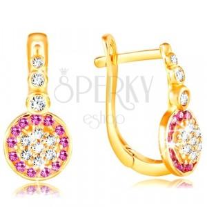Ohrringe aus 14K Gelbgold - glitzernde Blume aus rosa und klaren Zirkonen