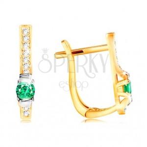 14K Gold Ohrringe - klare Zirkon Linie und dunkelgrüner runder Zirkon