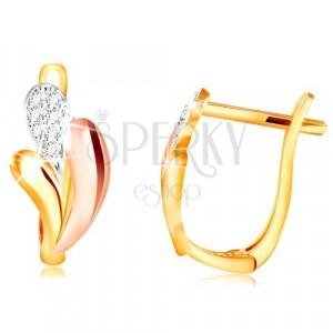 585 Gold Ohrringe- glänzende Tropfen aus Gelb, Rose und Weißgold, Zirkone
