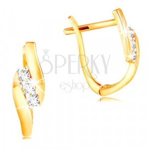 14K Gold Ohrringe - schräge Linie aus klaren Zirkonen zwischen glänzenden Streifen